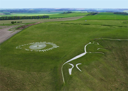 "The Big Brother chalk eye was painted with permission by the National Trust above the mysterious <a href=""http://en.wikipedia.org/wiki/Uffington_White_Horse"" target=""blank"">White Horse</a>, which was carved into the chalk hillside above the village of Uffington